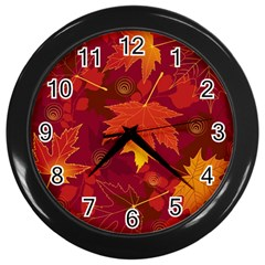 Autumn Leaves Fall Maple Wall Clocks (Black)
