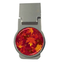 Autumn Leaves Fall Maple Money Clips (round)
