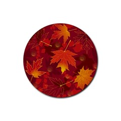 Autumn Leaves Fall Maple Rubber Coaster (round)