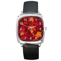 Autumn Leaves Fall Maple Square Metal Watch