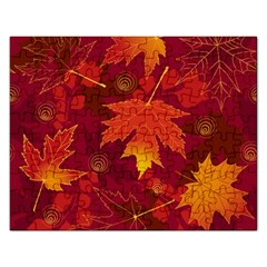 Autumn Leaves Fall Maple Rectangular Jigsaw Puzzl