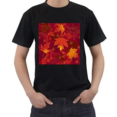Autumn Leaves Fall Maple Men s T-Shirt (Black) (Two Sided)