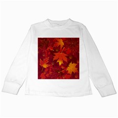 Autumn Leaves Fall Maple Kids Long Sleeve T Shirts