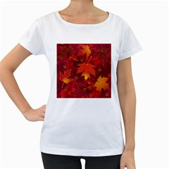 Autumn Leaves Fall Maple Women s Loose Fit T Shirt (white)