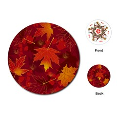 Autumn Leaves Fall Maple Playing Cards (Round)
