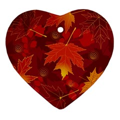 Autumn Leaves Fall Maple Heart Ornament (two Sides)