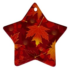 Autumn Leaves Fall Maple Star Ornament (Two Sides)