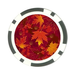 Autumn Leaves Fall Maple Poker Chip Card Guard (10 Pack)