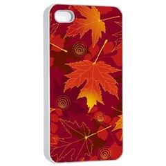 Autumn Leaves Fall Maple Apple iPhone 4/4s Seamless Case (White)