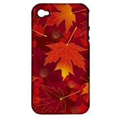 Autumn Leaves Fall Maple Apple iPhone 4/4S Hardshell Case (PC+Silicone)