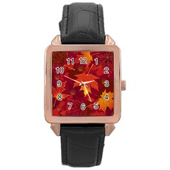 Autumn Leaves Fall Maple Rose Gold Leather Watch
