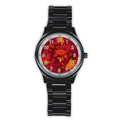 Autumn Leaves Fall Maple Stainless Steel Round Watch