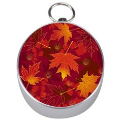 Autumn Leaves Fall Maple Silver Compasses