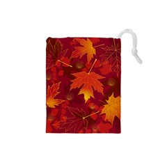 Autumn Leaves Fall Maple Drawstring Pouches (Small)