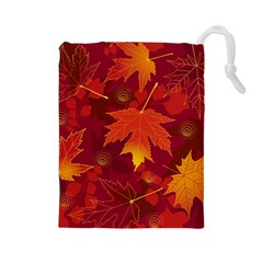 Autumn Leaves Fall Maple Drawstring Pouches (Large)