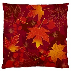 Autumn Leaves Fall Maple Large Flano Cushion Case (one Side)