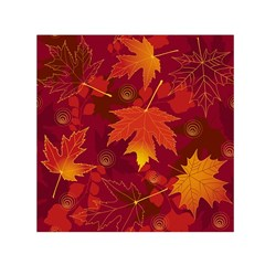 Autumn Leaves Fall Maple Small Satin Scarf (Square)