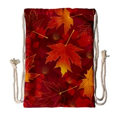 Autumn Leaves Fall Maple Drawstring Bag (Large)