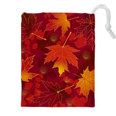 Autumn Leaves Fall Maple Drawstring Pouches (xxl)