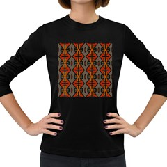 Seamless Pattern Digitally Created Tilable Abstract Women s Long Sleeve Dark T Shirts