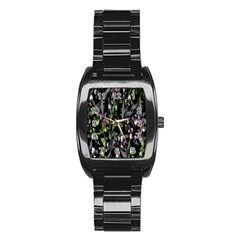 Floral Pattern Background Stainless Steel Barrel Watch