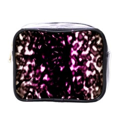 Background Structure Magenta Brown Mini Toiletries Bags