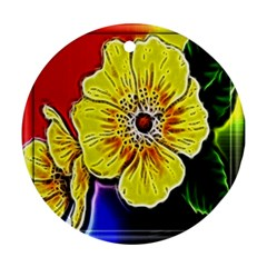 Beautiful Fractal Flower In 3d Glass Frame Ornament (round)