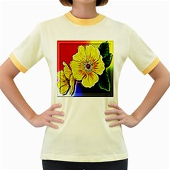 Beautiful Fractal Flower In 3d Glass Frame Women s Fitted Ringer T Shirts