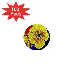 Beautiful Fractal Flower In 3d Glass Frame 1  Mini Magnets (100 Pack)