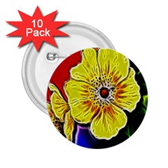 Beautiful Fractal Flower In 3d Glass Frame 2 25  Buttons (10 Pack)