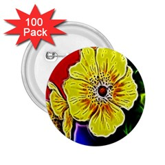 Beautiful Fractal Flower In 3d Glass Frame 2 25  Buttons (100 Pack)