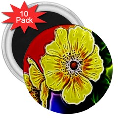 Beautiful Fractal Flower In 3d Glass Frame 3  Magnets (10 Pack)