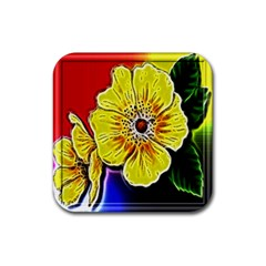 Beautiful Fractal Flower In 3d Glass Frame Rubber Square Coaster (4 pack)