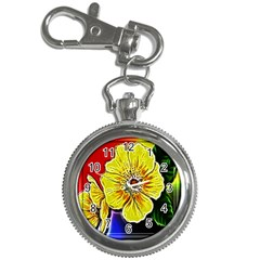 Beautiful Fractal Flower In 3d Glass Frame Key Chain Watches