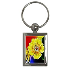 Beautiful Fractal Flower In 3d Glass Frame Key Chains (rectangle)