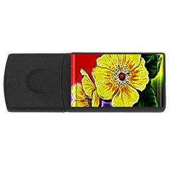 Beautiful Fractal Flower In 3d Glass Frame USB Flash Drive Rectangular (2 GB)