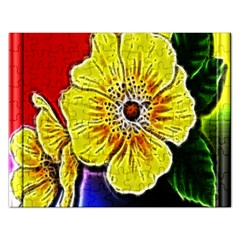 Beautiful Fractal Flower In 3d Glass Frame Rectangular Jigsaw Puzzl