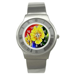 Beautiful Fractal Flower In 3d Glass Frame Stainless Steel Watch