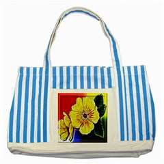 Beautiful Fractal Flower In 3d Glass Frame Striped Blue Tote Bag