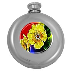 Beautiful Fractal Flower In 3d Glass Frame Round Hip Flask (5 Oz)
