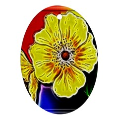 Beautiful Fractal Flower In 3d Glass Frame Oval Ornament (two Sides)