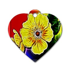 Beautiful Fractal Flower In 3d Glass Frame Dog Tag Heart (two Sides)