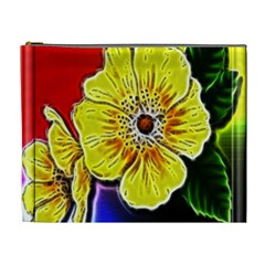 Beautiful Fractal Flower In 3d Glass Frame Cosmetic Bag (xl)