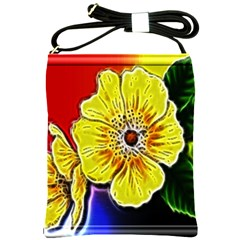 Beautiful Fractal Flower In 3d Glass Frame Shoulder Sling Bags