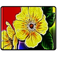 Beautiful Fractal Flower In 3d Glass Frame Fleece Blanket (medium)