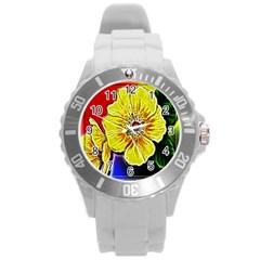 Beautiful Fractal Flower In 3d Glass Frame Round Plastic Sport Watch (L)