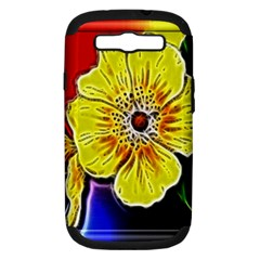 Beautiful Fractal Flower In 3d Glass Frame Samsung Galaxy S III Hardshell Case (PC+Silicone)