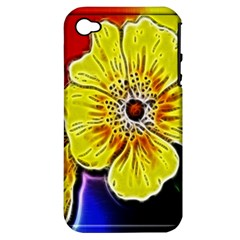 Beautiful Fractal Flower In 3d Glass Frame Apple iPhone 4/4S Hardshell Case (PC+Silicone)