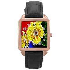 Beautiful Fractal Flower In 3d Glass Frame Rose Gold Leather Watch