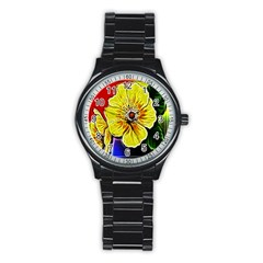 Beautiful Fractal Flower In 3d Glass Frame Stainless Steel Round Watch